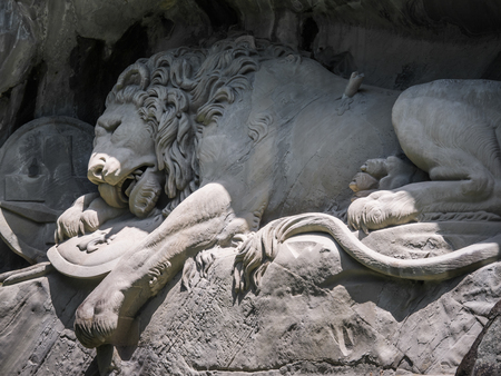 Lewendenkmal, the lion monument landmark in Lucerne, Switzerland. It was carved on the cliff to honor the Swiss Guards of Louis XVI of France.
