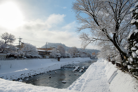 Japan, Takayama city in the earling morning, winter season, with clear blue sky.