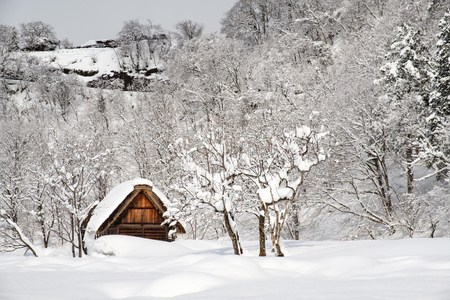 Historic Villages of Shirakawa-go and Gokayama, Japan. Winter in Shirakawa-go, Japan. Traditional style huts in Gassho-zukuri Village, Shirakawago and Gokayama.