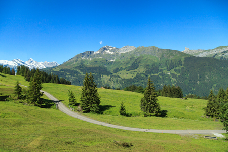 Beautiful summer view of mountain and clear blue sky. Outdoor natural scene in Swiss Alps, Switzerland, Europe.