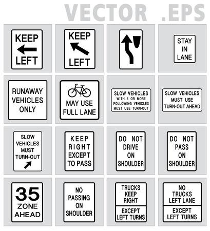 no pase: carretera señal de tráfico manténgase a la izquierda, lento, bicicletas, camiones, no pase
