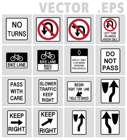 turns: Traffic sign road No turns, Do not pass, Bike lane, Keep right Illustration