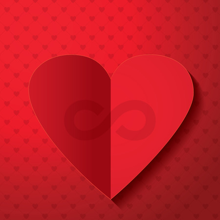 Valentines day infinity sign.Red paper Heart, background, Vector art.