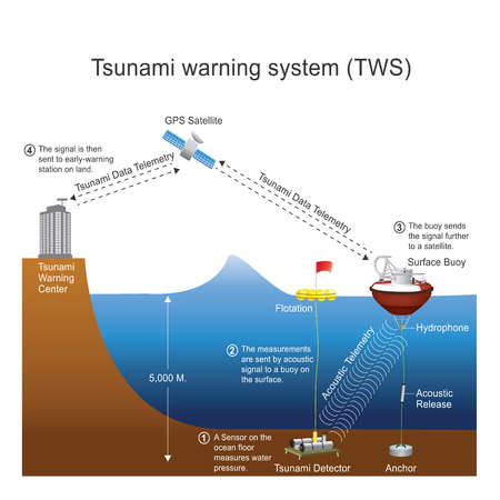 tsunamis: A tsunami warning system (TWS) is used to detect tsunamis in advance and issue warnings to prevent loss of life and damage. It is made up of two equally important components: a network of sensors to detect tsunamis and a communications infrastructure to i