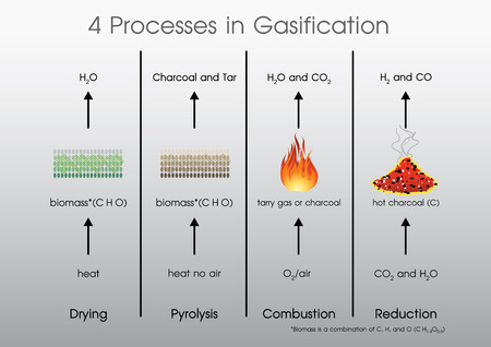 4 processes in Gasification Drying, Pyrolysis, Combustion, Reduction. Vector, Illustration.