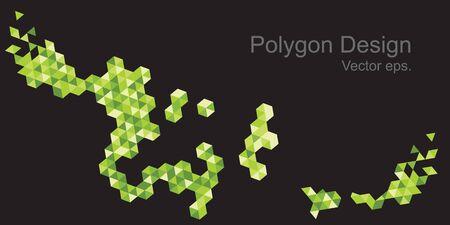 Hexagon design green color tone black color background.Web design, Technology, science, Design element.
