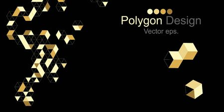Banner Golden Triangle and cube black color background.Web design, Technology, science, Design element. Vector and Illustration.