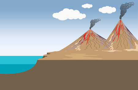 Volcano is a rupture in the crust of a planetary-mass object, such as Earth, that allows hot lava, volcanic ash, and gases to escape from a magma chamber below the surface. Education info graphic vector.