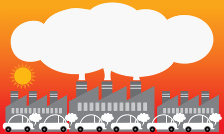 Air pollution from urban. Smoke-shaped white space design for your text. Red background. Education graphic vector.