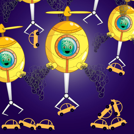 UFO Attack.Its getting the car up in the sky. Illustration vector cartoon.