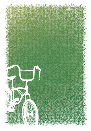 greensward: Greensward and white bicycle isolated vector graphic design.