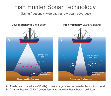 Sonar signal systems are generally used underwater for range finding and detection. Active sonar emits an acoustic signal, or pulse of sound, into the deep underwater. Vector info graphic.