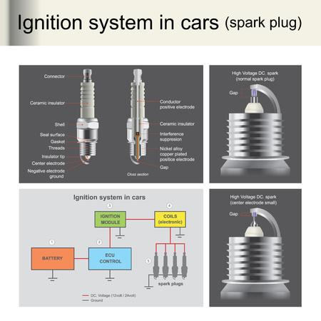 Les bougies d'allumage sont utilisées pour allumer le moteur, le contrôle par ordinateur Les bougies d'allumage sont importantes pour les moteurs à essence. Illustration info graphique.