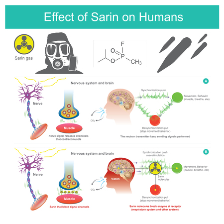 Sarin gas molecules block enzyme at receptor. Destroy respiratory system and other system in bodies. Illustration.