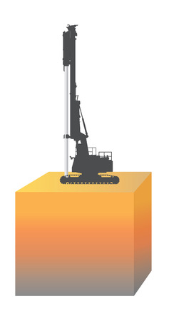 Using concrete piling finished compressed into the soil by driven pile machine.  イラスト・ベクター素材