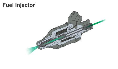 Die Kraftstoffeinspritzung ist die Einführung von Kraftstoff in einen Verbrennungsmotor, am häufigsten in Kraftfahrzeugmotoren, mittels eines Injektors. Vektorgrafik