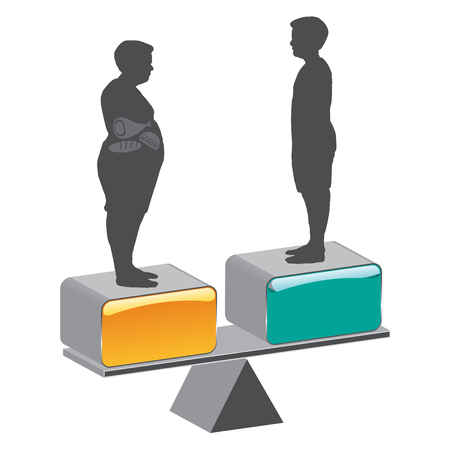 Fat man and Slim man. Calories are units of energy. Vektorové ilustrace