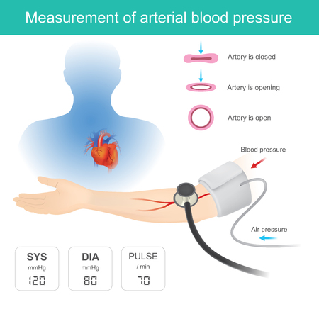 Use of medical instruments to measure blood pressure And the heart pulse.