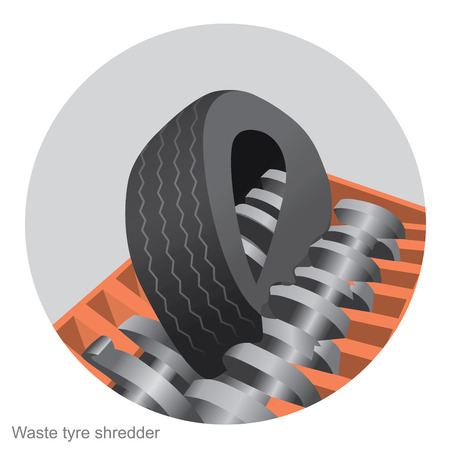 Used automotive tires can be crushed in small pieces. Become rubber product from automotive old tires. Illustration