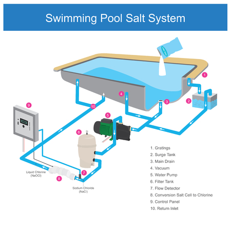 The water filter system in the pool that uses salt is a chemical that makes the water clear, By use electrode cell changing to chlorine. Infographic illustration.
