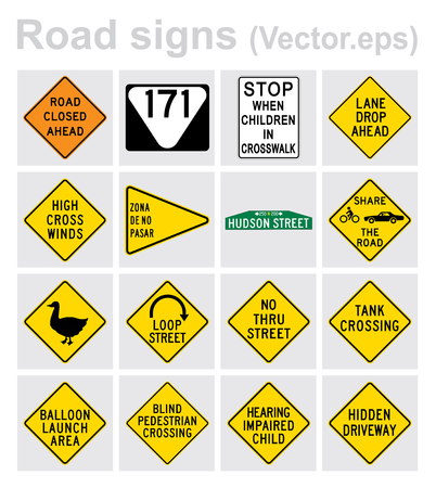 Traffic sign road concept design set. Illustration 4x4 per set.
