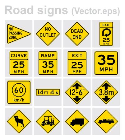 Traffic sign road concept design set. Illustration 4x4 per set.