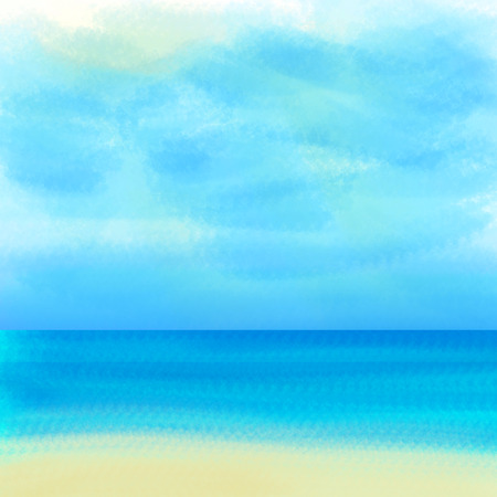 Blue colour background. Illustration of sea and sky painted by hand. Фото со стока