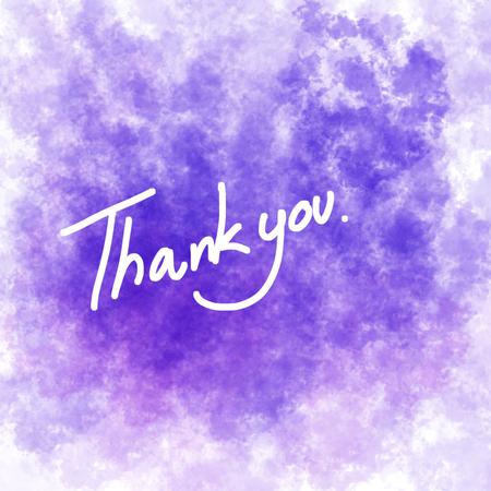 Violet colour background. Illustration of Thanks card.