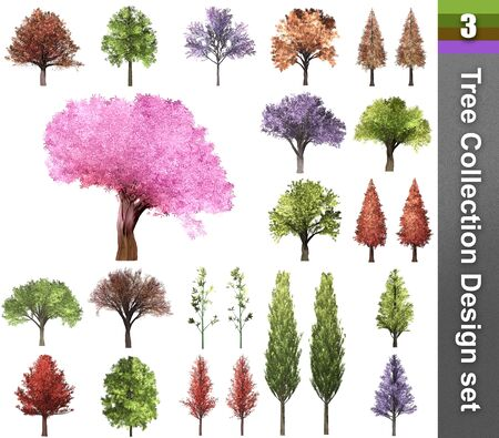 Tree correction design set. 3D Illustration. White background isolate. Nature and Gardens design. Stok Fotoğraf - 132285757