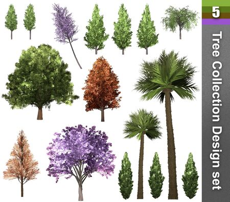 Tree correction design set. 3D Illustration. White background isolate. Nature and Gardens design. Stok Fotoğraf - 132285758