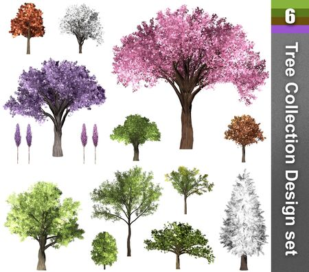 Tree correction design set. 3D Illustration. White background isolate. Nature and Gardens design. Stok Fotoğraf - 132285760
