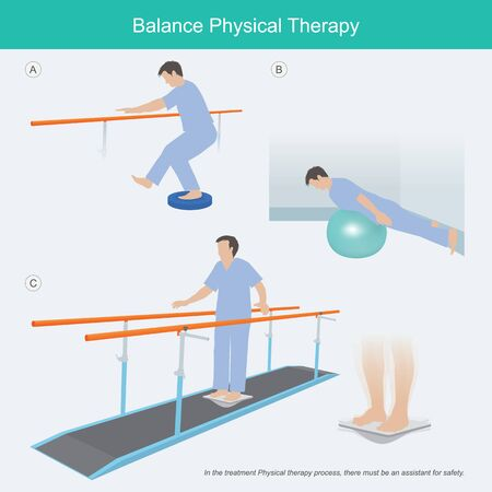 Illustration explain the exercise that helps balance the body related to neuromuscular.  イラスト・ベクター素材