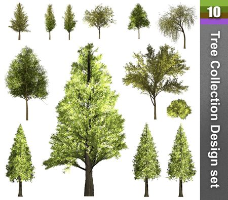 Tree correction design set. 3D Illustration. White background isolate. Nature and Gardens design. Stok Fotoğraf - 132285872
