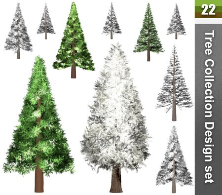 Tree correction design set. 3D Illustration. White background isolate. Nature and Gardens design. Stok Fotoğraf - 132285926