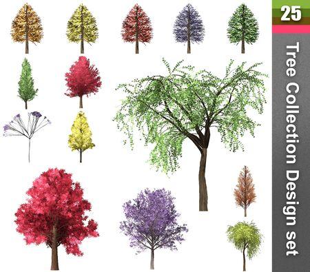 Tree correction design set. 3D Illustration. White background isolate. Nature and Gardens design. Stok Fotoğraf - 132285927
