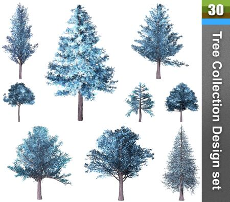 Tree correction design set. 3D Illustration. White background isolate. Nature and Gardens design. Stok Fotoğraf - 132285932