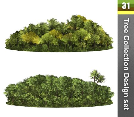Trees correction design set. Forest isolated. Image useful for background nature banner. Illustration 3d rendering. 写真素材