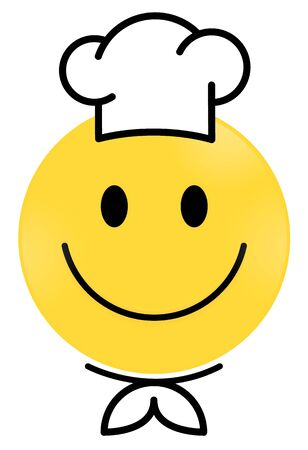 Smiley Face yellow Chef. Happy smiley emoji vector yellow. Vector happy circle face.  イラスト・ベクター素材