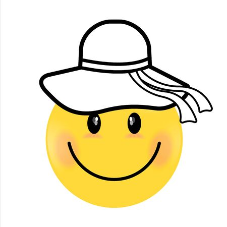 Smiling Face yellow girl. Happy smiley emoji vector yellow. Vector happy circle face.  イラスト・ベクター素材