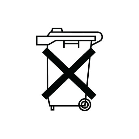 Black caution Trash  symbol. For banner, general design print and websites. Illustration vector.