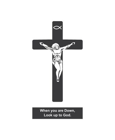 Christianity.  This illustration explain for Crucifix symbol Which represents Christian beliefs. Standard-Bild - 134596361