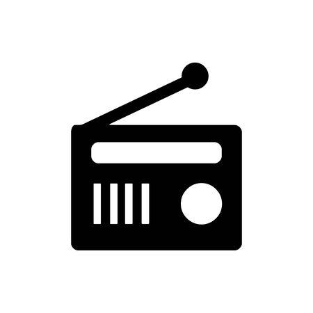 Black classic retro radio tuner symbol for banner, general design print and websites. Illustration vector. Standard-Bild - 134595963