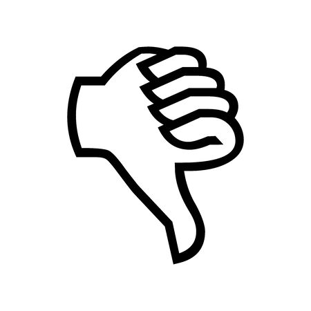 Black dislike hand symbol for banner, general design print and websites. Illustration vector.