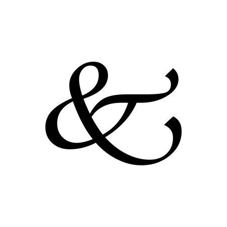 Black ampersand Handwritten symbol for banner, general design print and websites. Illustration vector.