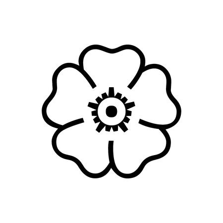 Black line Sakura symbol for banner, general design print and websites. Illustration vector.