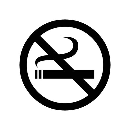 Black no smoking symbol for banner, general design print and websites. Illustration vector. Stock Illustratie