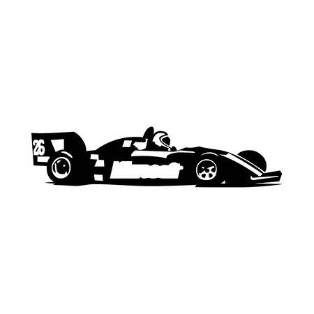 Black Formula racing car symbol for banner, general design print and websites. Illustration vector. 일러스트