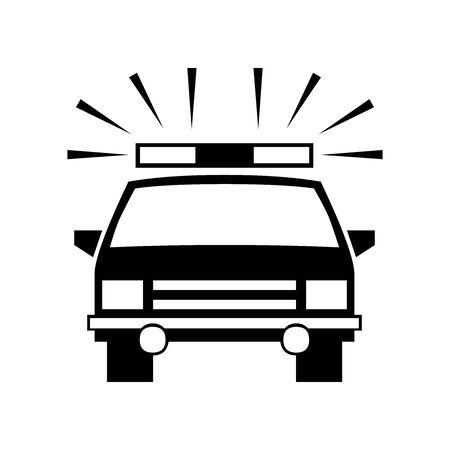 Black Police officer car symbol for banner, general design print and websites. Illustration vector.