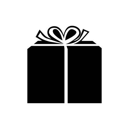 Black gift box symbol for banner, general design print and websites. Illustration vector.