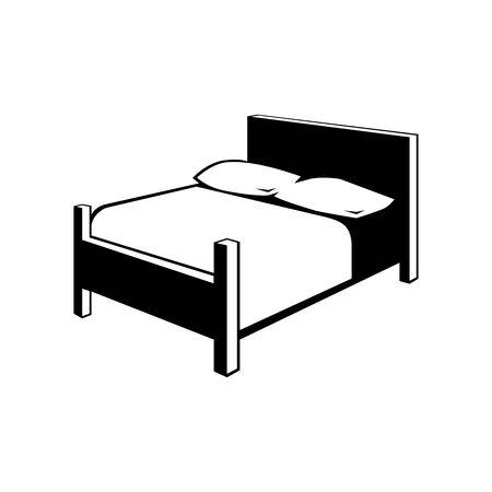 Black Bedroom symbol for banner, general design print and websites. Illustration vector.